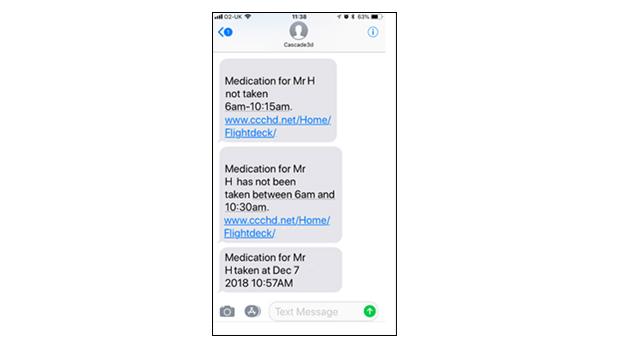 Alert Text Message – Text alerting responder on triggered event